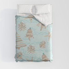 Christmas Holiday Driftwood Tree, Star and Snowflake in Ocean Duvet Cover