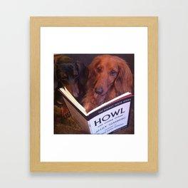 Dachshund reading Howl Framed Art Print