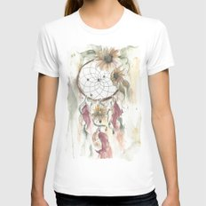 Dream catcher in earthy tones MEDIUM White Womens Fitted Tee
