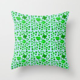 Green Poppies on blue Throw Pillow