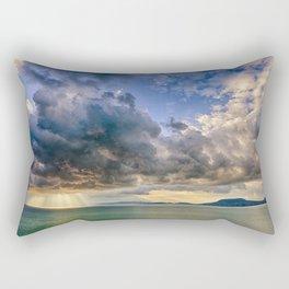 Heavenly lights through storm clouds over Lake Balaton Rectangular Pillow