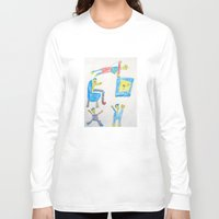 workout Long Sleeve T-shirts featuring Dad's Workout Time by Dozer and Beans