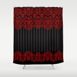Beautiful Red Damask Lace and Black Stripes Shower Curtain