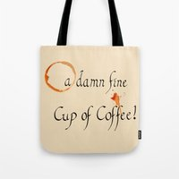 dale cooper Tote Bags featuring As Said By Agent Dale Cooper by Line Westendahl