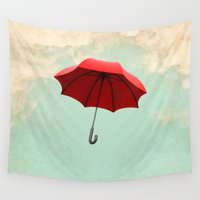umbrella Wall Tapestries featuring Red Umbrella by Vin Zzep