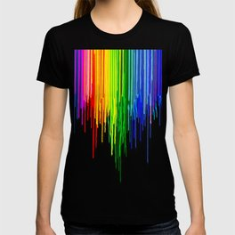 Rainbow Paint Drops on Black T-shirt