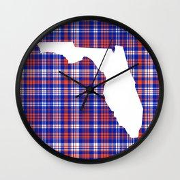 Florida university gators orange and blue college sports football plaid pattern Wall Clock