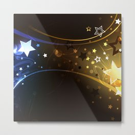 Black Background with Contrasting Stars Metal Print