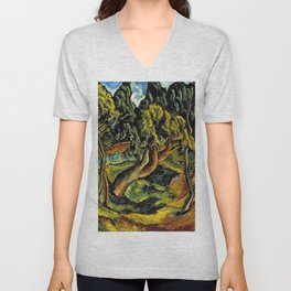 """African American Classical Masterpiece """"Burden of Racism in the 20th Century"""" by Hale Woodruff Unisex V-Neck"""