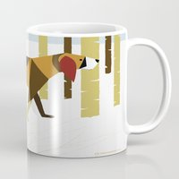 the hound Mugs featuring Winter Hound by Freedom Art Inc.