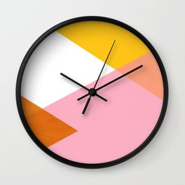 Geometrics - sorbet & orange concrete Wall Clock