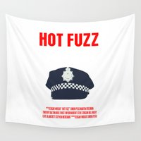 movie poster Wall Tapestries featuring Hot Fuzz Movie Poster by FunnyFaceArt