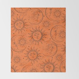 Orange Magic Celestial Sun Moon Stars Throw Blanket