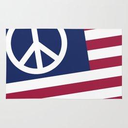 Peace and Love USA Flag Rug