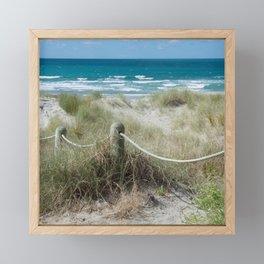 Seaside beach ropes Framed Mini Art Print