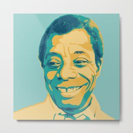 James Baldwin Portrait Teal Gold Blue Metal Print