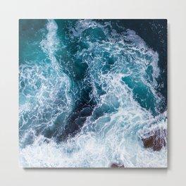 Exquisite Turquoise Jade Ocean Waters With Foamy Surf Metal Print