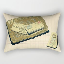Brass Tray with Vintage Postage Holders in Gouache Rectangular Pillow