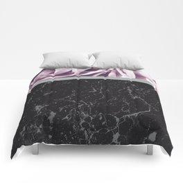Light Purple Flower Meets Gray Black Marble #1 #decor #art #society6 Comforters