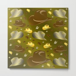 brown, golden pattern of little cowboy hats Metal Print