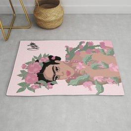 Frida Khalo & Pink Flowers Rug