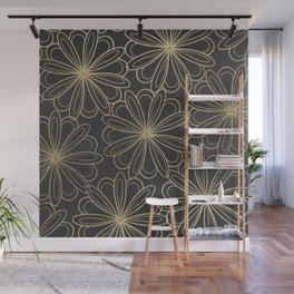 Modern elegant black faux gold hand painted floral Wall Mural