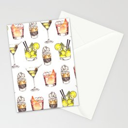 Fun Watercolor Drinks Pattern- Party Time Stationery Cards