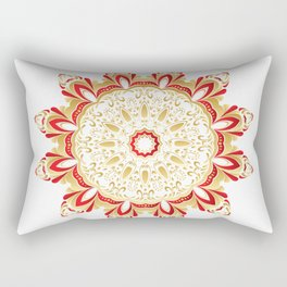Floral Gold and Red Round Ornament Rectangular Pillow