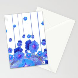 BABY BLUE MORNING GLORIES RAIN ABSTRACT ART Stationery Cards