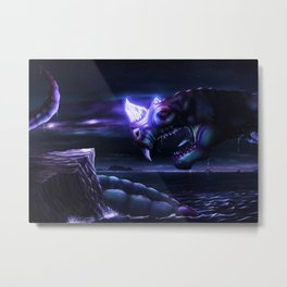Glowing Water Dragon Metal Print