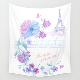 Eiffel tower in the flower Wall Tapestry