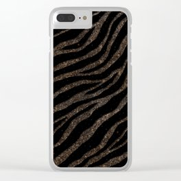 Ripped SpaceTime Stripes - Glitter Brown Clear iPhone Case