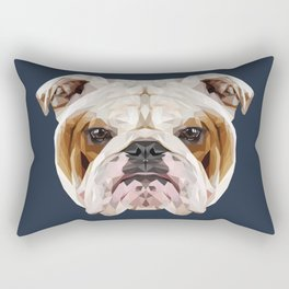 English Bulldog // Navy  Rectangular Pillow