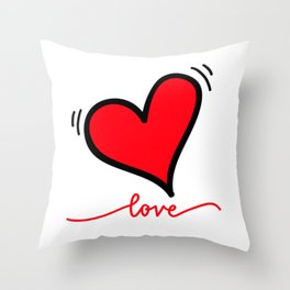 love - red and black heartbeat Throw Pillow