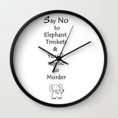 Say No to Elephant Trinkets Wall Clock