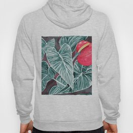 Pop Anthurium Leafs and Flowers Hoody