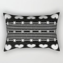 Black and white Heart Stripe Pattern Rectangular Pillow