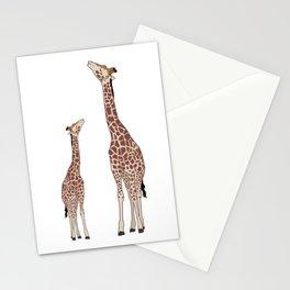 Cute Mama and Baby Giraffe Zoo Safari Design Stationery Cards
