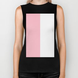 White and Pink Vertical Halves Biker Tank