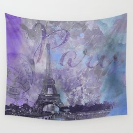 Purple Paris Watercolor Art Wall Tapestry