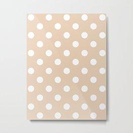 Polka Dots - White on Pastel Brown Metal Print