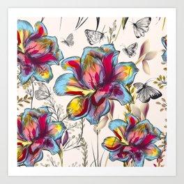 rainbow watercolor flowers Art Print