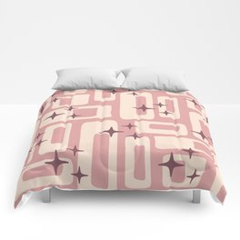 Retro Mid Century Modern Abstract Pattern 576 Dusty Rose Comforters