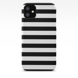 Midnight Black and White Stripes iPhone Case
