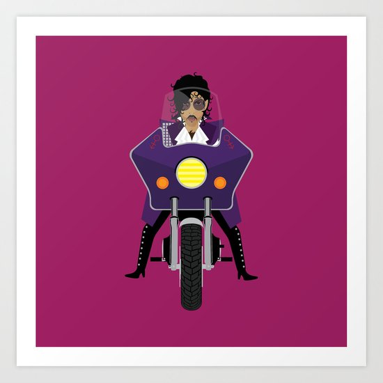 The Emoji-fication of His Purple Majesty: Motorcycle Art Print