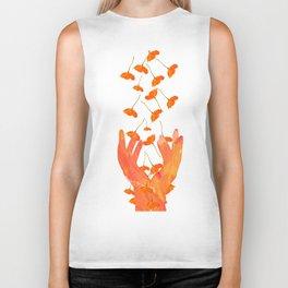 Wonderful Poppy Flowers Orange Coral Color White Background #decor #sociey6 #buyart Biker Tank