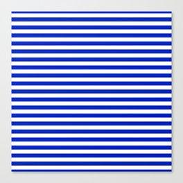 Cobalt Blue and White Thin Horizontal Deck Chair Stripe Canvas Print