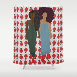 Strawberry Bawse Babes- Purple Shower Curtain