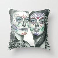 lindsay lohan Throw Pillows featuring Meryl Streep and Lindsay Lohan  by Jimmy Lee