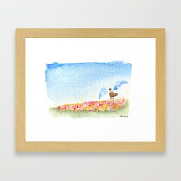 The Angel and the Rose fields Framed Art Print
